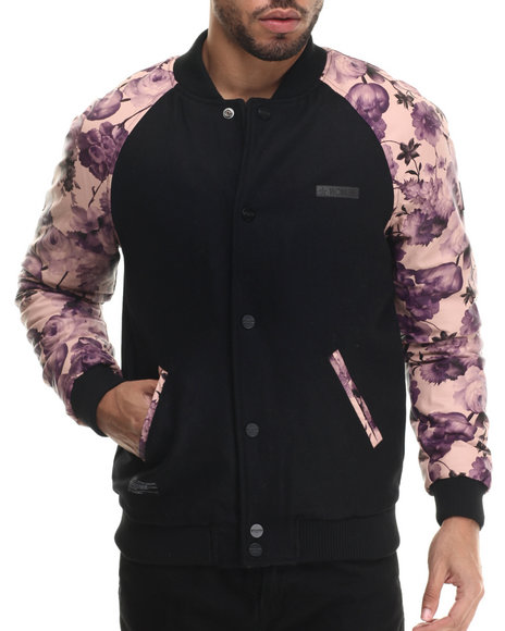 Two Angle Clothing - Men Black Tiflor Floral - Sleeve Jacket