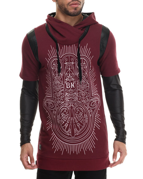 Black Kaviar - Men Maroon Saverock Faux - Leather Trimmed Graphic Sweatshirt