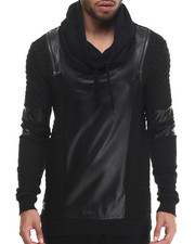 Men - Sazzly Faux Leather - Trimmed Sweatshirt