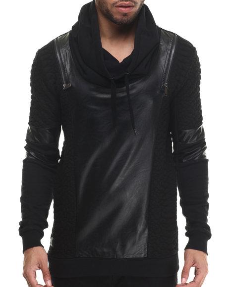 Black Kaviar - Men Black Sazzly Faux Leather - Trimmed Sweatshirt