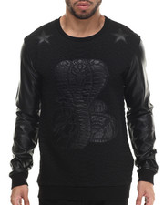 Men - Santos Faux Leather Trimmed Sweatshirt