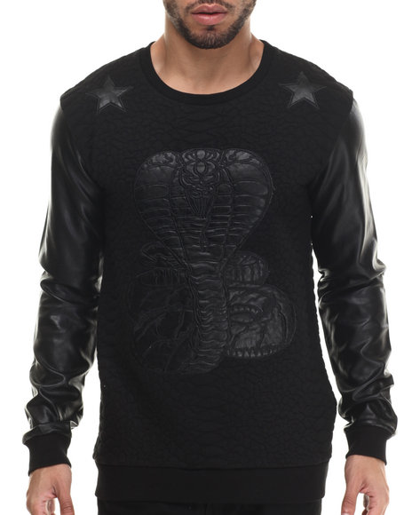 Black Kaviar - Men Black Santos Faux Leather Trimmed Sweatshirt - $110.00