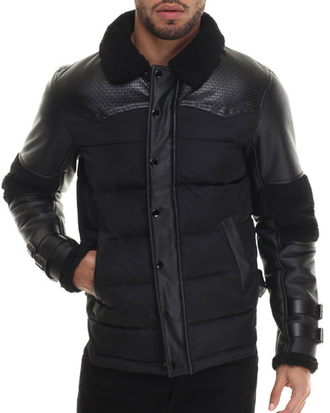 Black Kaviar - Men Black Stomb Faux Leather - Trimmed Quilted Jacket