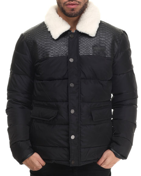Two Angle Clothing - Men Black Tilaine Faux - Snake - Trimmed Quilted Jacket
