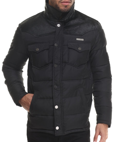 Ur-ID 213216 Two Angle Clothing - Men Black Geopard Quilted Down Jacket