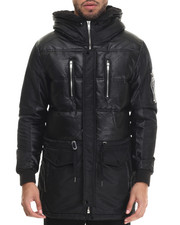 Heavy Coats - Soka Faux Leather - Trimmed Quilted Jacket
