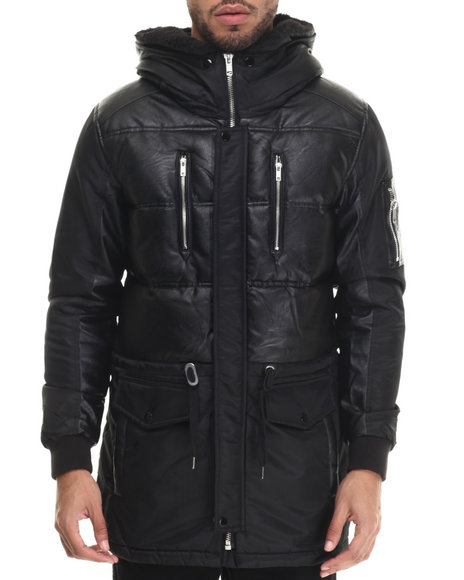 Black Kaviar - Men Black Soka Faux Leather - Trimmed Quilted Jacket
