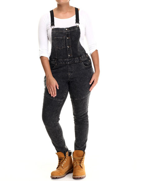 Basic Essentials - Women Black Striped Suspenders Denim Overalls (Plus)