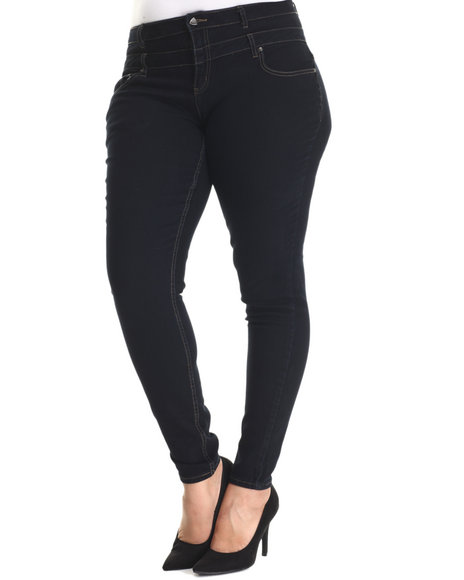 Basic Essentials - Women Navy Double Kiss Stacked Highwaisted Skinny Jean (Plus) - $31.99