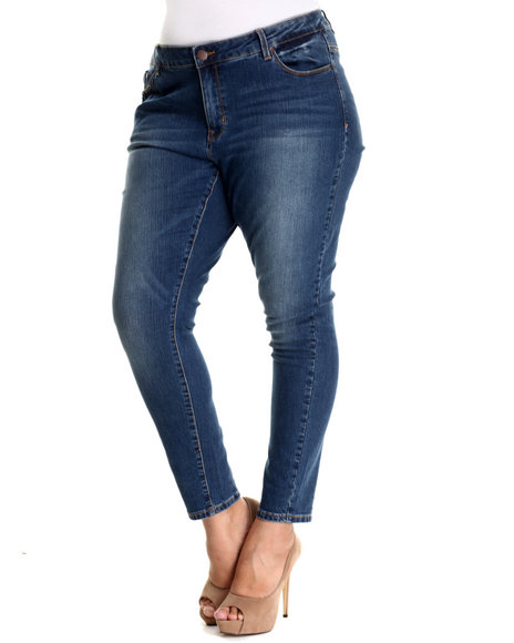 Basic Essentials - Women Blue Miss May Skinny Jean (Plus)