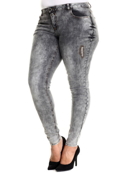 Basic Essentials - Women Grey Two Button Rip & Repair Skinny Jean (Plus)