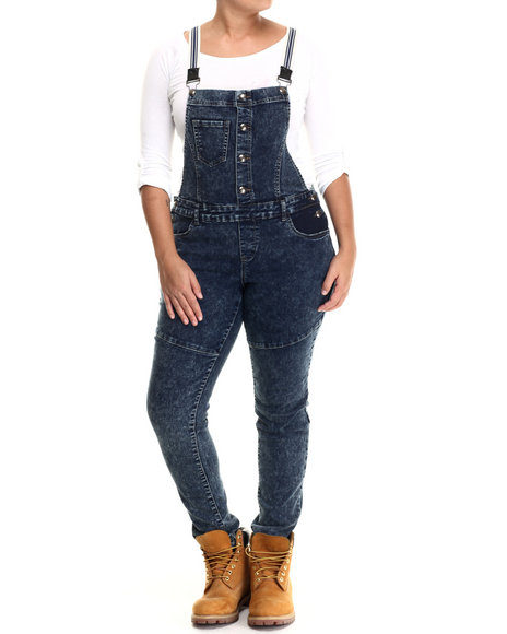 Basic Essentials - Women Navy Striped Suspenders Denim Overalls (Plus) - $39.00