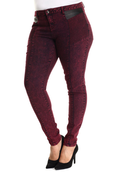 Basic Essentials - Women Maroon Vegan Leather Detail Moto Skinny Jean (Plus)