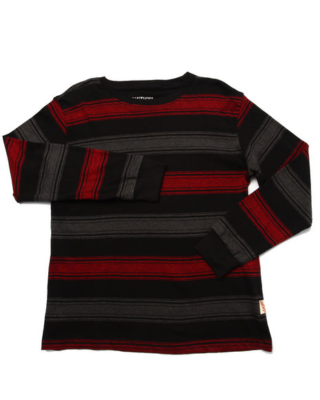 Arcade Styles - Boys Black Striped Crew Neck Top (8-20) - $12.00
