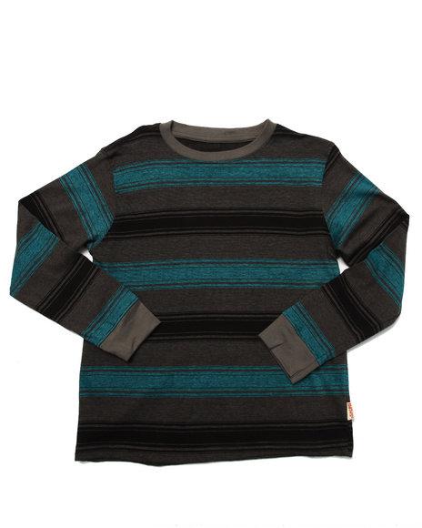 Arcade Styles - Boys Grey Striped Crew Neck Top (8-20)