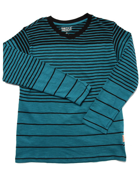 Arcade Styles - Boys Blue Y/D Striped V-Neck Top (8-20)