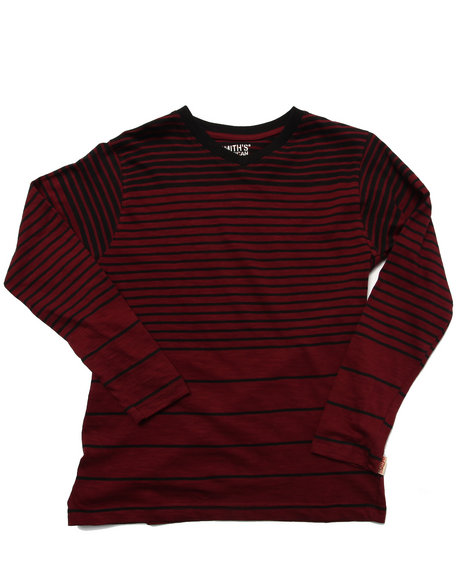 Arcade Styles - Boys Maroon Y/D Striped V-Neck Top (8-20)