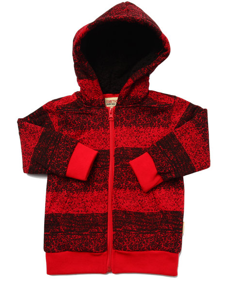 Arcade Styles - Boys Red Striped Full Zip Hoody (2T-4T) - $20.00