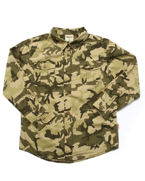 Arcade Styles Camo,Olive Button-Downs