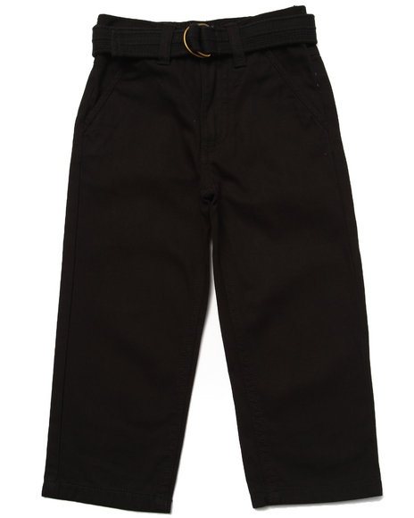 Arcade Styles - Boys Black Belted Twill Pants (2T-4T)