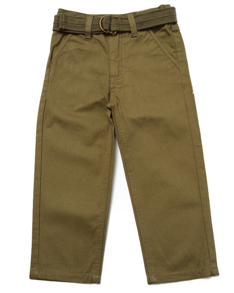 Arcade Styles - Boys Olive Belted Twill Pants (2T-4T)