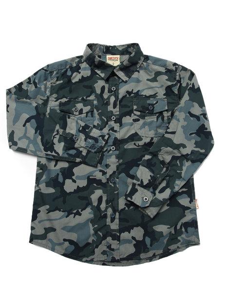 Arcade Styles - Boys Blue,Camo Camo Woven Shirt (8-20)
