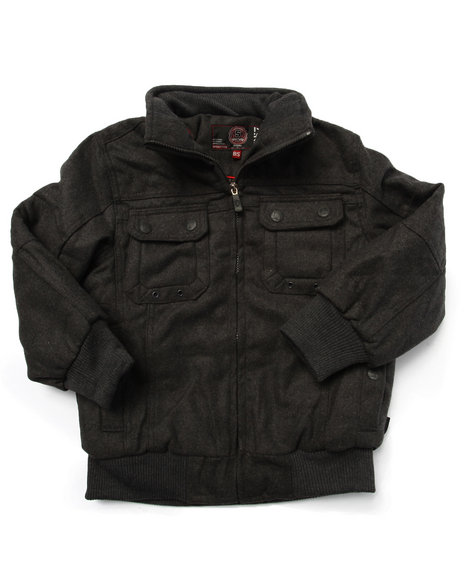 Arcade Styles - Boys Charcoal Wool Bomber Jacket (8-20)