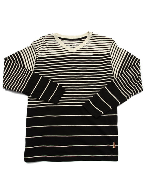 Arcade Styles - Boys Black Y/D Striped V-Neck Top (8-20) - $12.00