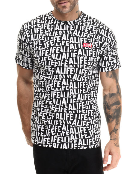 Alife - Men Black Sticker Pattern S/S Tee - $32.00