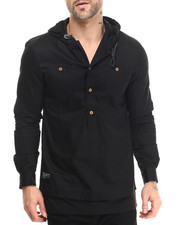 Men - Tapuche Woven - Sleeve Hooded Henley