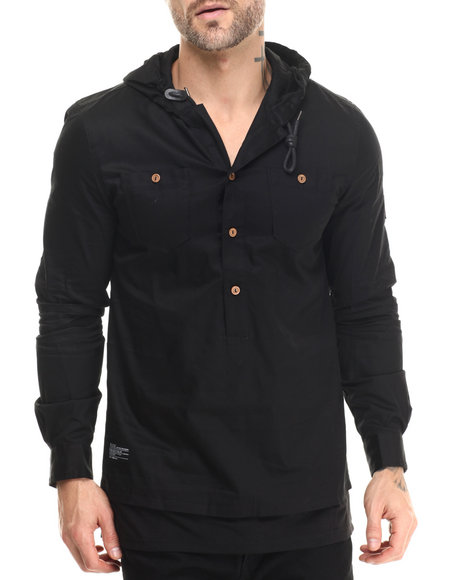 Two Angle Clothing - Men Black Tapuche Woven - Sleeve Hooded Henley