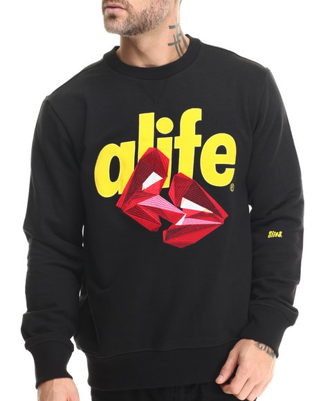 Ur-ID 213263 Alife - Men Black Kisses Crewneck Sweatshirt