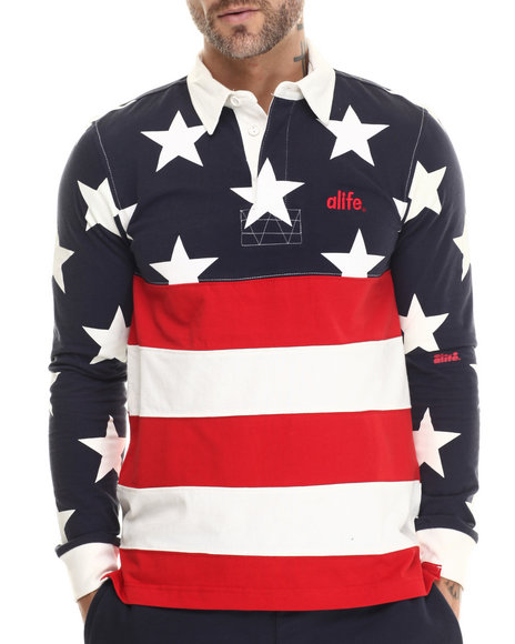 Alife - Men Navy Star Flag Rugby - $64.00