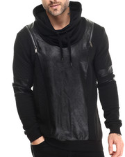 Men - Saddle Faux Leather Trimmed Hooded Sweatshirt