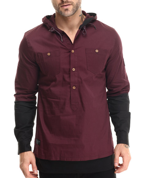 Ur-ID 213273 Two Angle Clothing - Men Maroon Tapuche Woven - Sleeve Hooded Henley