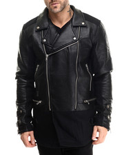 Outerwear - Sambo Elongated Faux - Leather Trimmed Jacket