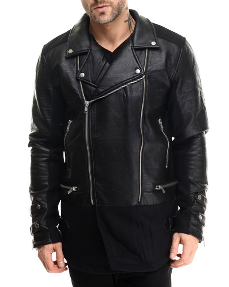 Black Kaviar - Men Black Sambo Elongated Faux - Leather Trimmed Jacket - $122.99