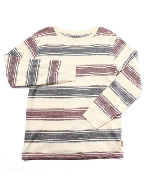 Arcade Styles - Boys Cream Striped Crew Neck Top (8-20) - $12.00