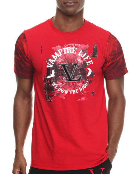 Vampire Life - Men Red Color Blocked T-Shirt W/ Printed Sleeve