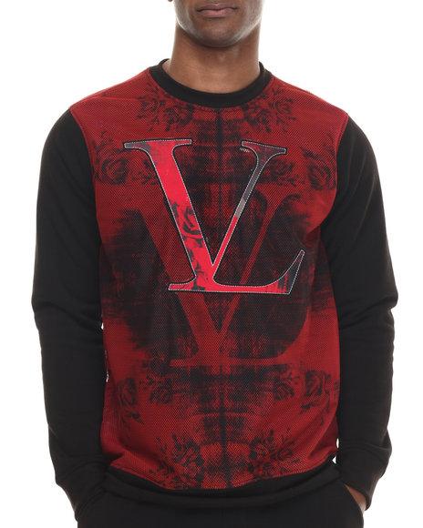 Vampire Life - Men Red Color Blocked Sweatshirt W/ Printed Mesh