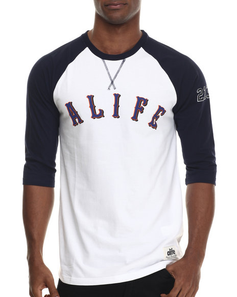 Alife - Men White Madoff Baseball Raglan Tee - $36.00