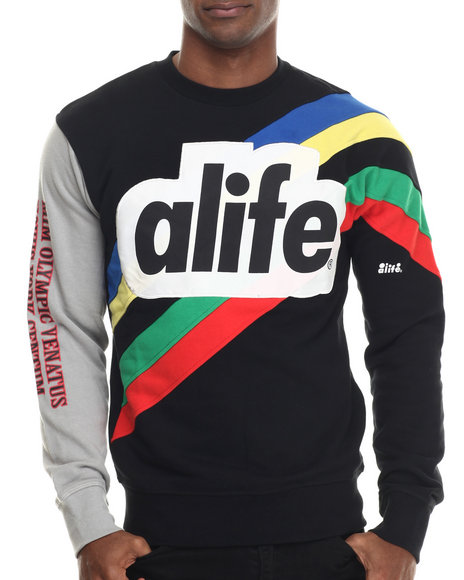 Alife - Men Black Champion Crewneck Sweatshirt