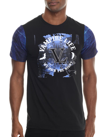 Vampire Life - Men Blue Color Blocked T-Shirt W/ Printed Sleeve