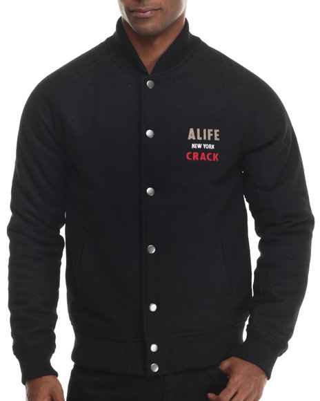 Alife - Men Black Wolfpack Varsity Jacket - $133.99