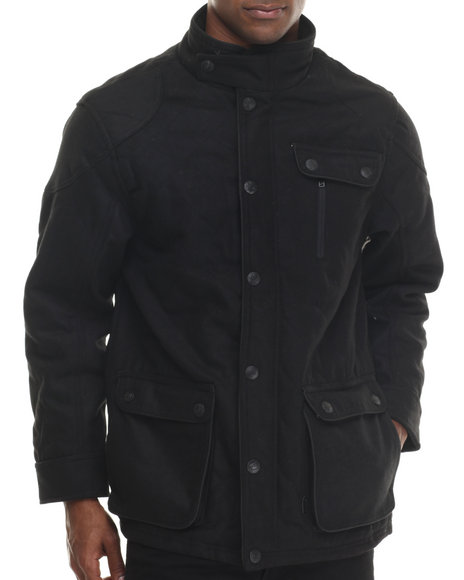Basic Essentials - Men Black Quilted Long Jacket
