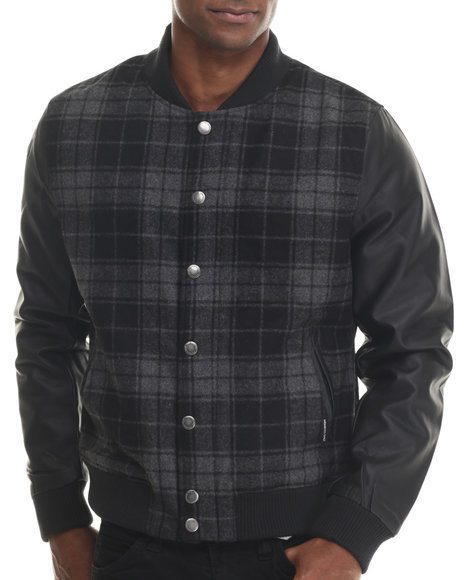 Members Only - Men Charcoal Plaid Wool Varsity Jacket W/ Faux Leather Sleeves