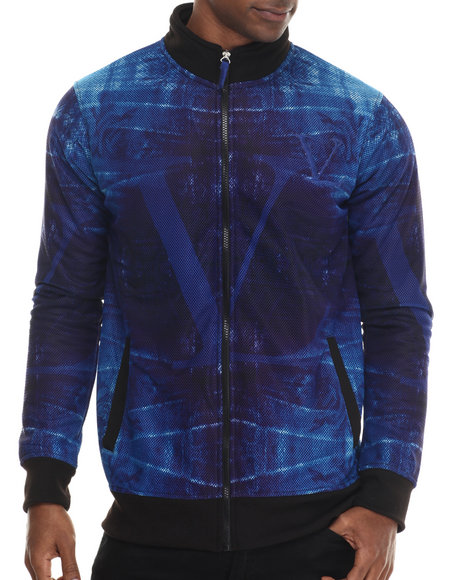 Vampire Life - Men Blue Printed Fleece Track Jacket