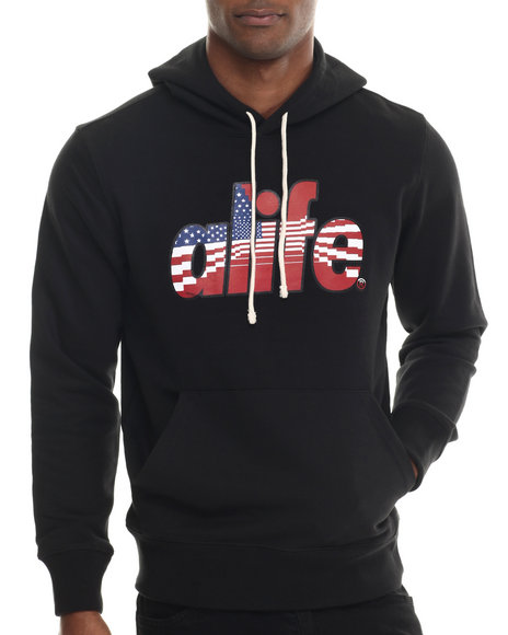 Ur-ID 213291 Alife - Men Black Infinity Flag Pullover Hoodie