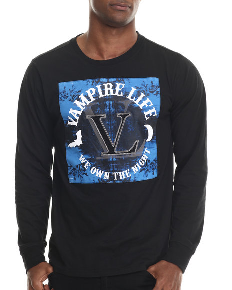 Vampire Life - Men Black L/S Flocked T-Shirt