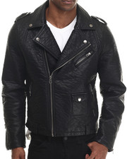 Leather Jackets - Heavy Faux Leather Motorcycle Jacket